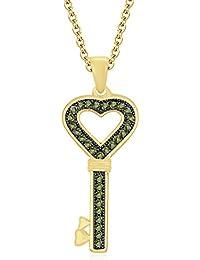"Silvernshine 1.28 Ct Round Peridot Heart Lock Key Pendant 18"" Chain 14K Yellow Gold Fn 925 Silver"