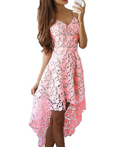 Damen Sommer Sexy minikleid Spitze Cocktail Partykleid Rosa