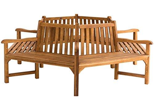 CLP Baumbank SONJA, Teak-Holz massiv, 360 ° Rund-Bank mit Armlehnen, sechseckig Ø ca. 124 cm / 250 cm (innen / außen)