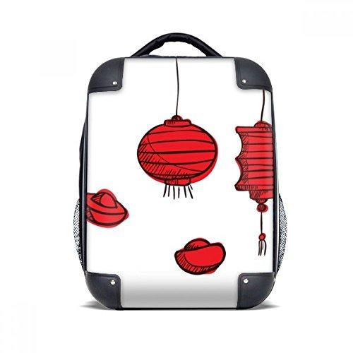 DIYthinker Rote Laternen chinesisches Jahr der Hahn Hard Case Schulter Kind-Rucksack-Geschenk 15