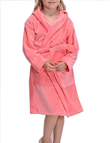 Boys Girls Terry Towelling Bathrobe Kids Cotton Sleepwear Robe, Pink S