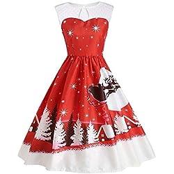 YWLINK Damen Eine Linie Jahrgang Weihnachten Druckt Spitze Ärmellos Swing Kleid Rockabilly UnregelmäßIg Faltenrock(M,Rot)