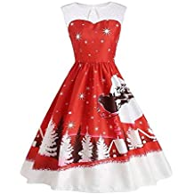 Christmas Impresión Vendimia Fiesta Vestir,Lonshell Navidad Ropa de Mujer Sin Manga Imprimir Retro Vestido