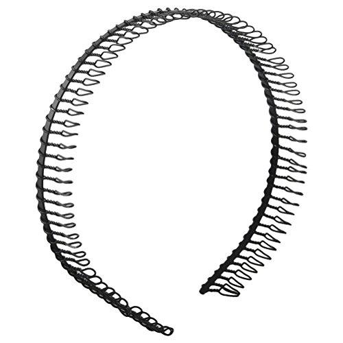 takestop® Set 2Stück Stirnteil Frontini Eisen Haarreif Kamm Zähne Standlichtringe schwarz Haarreifen Clip Haarspangen Frisur