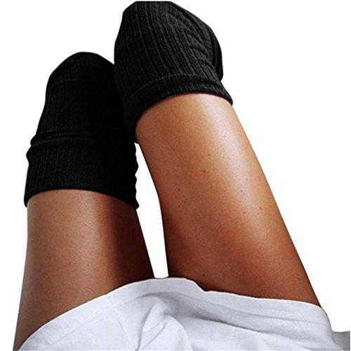 URSING Mädchen Damen Frau Schenkel Hoch Overknee Socken Lange Baumwollstrümpfe Warm Kniestrümpfe Schick Hochschule Elastisch Strümpfe Baumwolle Stricken Klassischer High Socks (60-80cm, Schwarz) (Knie-länge-knie-hohe Strümpfe)