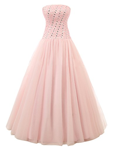 Dresstells Elegant Bodenlang Strapless Abendkleider Tüll Promi-Kleider Koralle