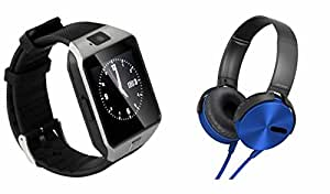 MIRZA Extra Extra Bass XB450 Headphones & DZ09 Bluetooth Smart Watch for LG GX2(XB 450 Headphones,With MIC,Extra Bass,Headset,Sports Headset,Wired Headset & Bluetooth DZ09 Smart Watch Wrist Watch Phone with Camera & SIM Card Support Hot Fashion New Arrival Best Selling Premium Quality Lowest Price with Apps like Facebook, Whatsapp, Twitter, Sports, Health, Compatible with Android iOS Mobile Tablet-Assorted Color)