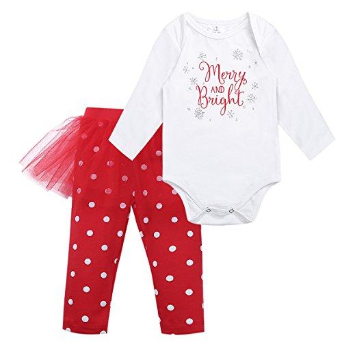 (Tiaobug Babykleidung Baby - Mädchen Bekleidung im Set mit Langarmshirt und Hose 80 86 92 98 Rot 92 (Herstellergröße:100))