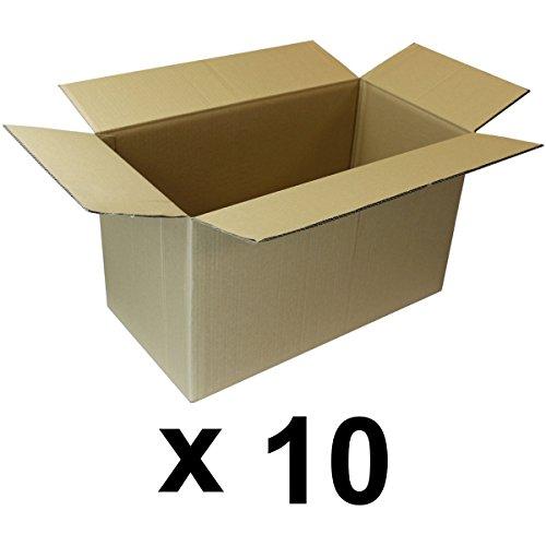 Lot de 10 cartons de déménagement double cannelure - 53 x 28 x 30 cm