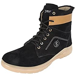 Guava Suede Leather Boots - Black