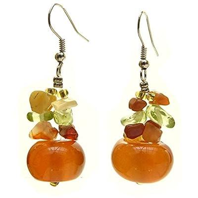 Boucles d'oreilles femme pierres agate verte orange