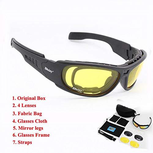 YHFS Sport Sonnenbrillen C6 Polarized Glasses Cs Army Tactical Motorrad Kugelsichere Militärbrille Mit 4-Linsen-Kit