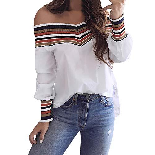 Dorical Damen Langarm Mehrfarbig T-Shirt Schulterfrei Lose Bluse Langarmshirts Hemd Pullover Sweatshirt Sexy Oberteil Tops Shirts S-XXL Ausverkauf(Weiß,X-Large)