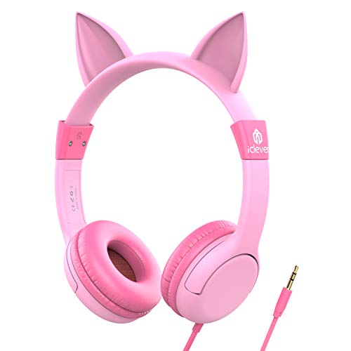Auriculares para niños, iClever Volumen Limitado cascos para niños sobre el oído Auriculares para bebés con diseño estéreo ajustable Cat para Tablets iPhone iPad PC MP3, regalos para niña, rosa