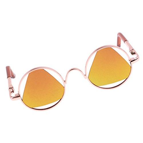 Homyl Modische Puppe Runde Sonnenbrille Gläser Schutzbrille mit Dreieck Linse Für 12 Zoll Blythe Puppen Zubehör - Gelb, Goldener Rahmen