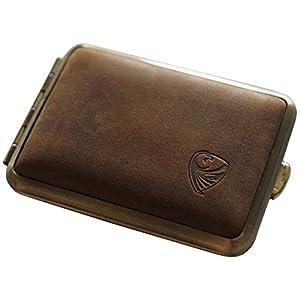 GERMANUS Pillendose Etui, Made in Germany, Kleines Rind Pillenbox für Tabletten, Stahl mit braunem Leder, für Tabak Schnupftabak