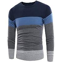 Zacard Otoño Invierno Hombres cálidos Suéter Casual Mezcla de Moda Costura en Color Tapas Ajustadas Hombre Cómodo Pullover Desgaste Diario - Lack Blue 2XL