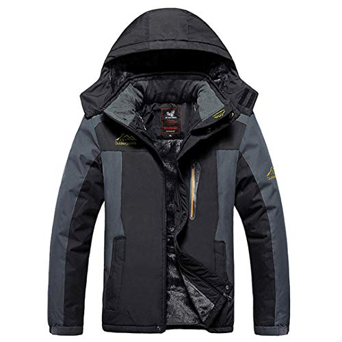 TH&Meoostny Veste d'hiver pour Homme en Molleton épaissir Pardessus de Manteau de Parka en Coton rembourré Veste imperméable