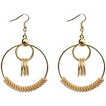 Emorias 1 par de pendientes largos y redondos para mujer y niña, diseño de perlas