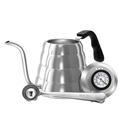 BOCHA – Handbrüh Kaffee Und Tee Kessel 1,2 L Edelstahl Wasserkessel Mit Temperaturanzeige Thermometer, Gratis Schaufel Beutel Klammer Und Ebook Inbegriffen Kessel Mit Schwanenhals