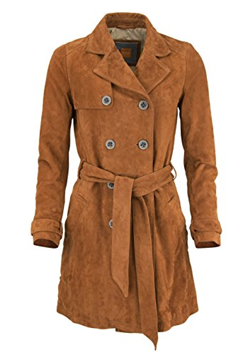 BOSS ORANGE Langarm Trenchcoat JOSEA Reverskragen Veloursleder zimt