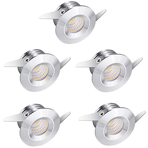 Midore 5er Mini Klein Einbaustrahler Minispot Einbauleuchte LED Aluminium 3W Warmweiß mit Transformer