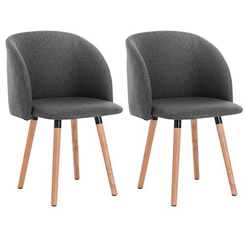 WOLTU 2X Sillas de Comedor Nordicas Estilo Vintage Dining Chairs Juego de 2 Sillas de Cocina Tulip Sillas Tapizadas en...