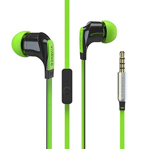 Stereo Headset mit Mikrofon, Kopfhörer, Ohrhörer für Smartphone, Handy, MP3-Player, mit Fernbedienung und 3,5 mm Klinkenstecker grün ()
