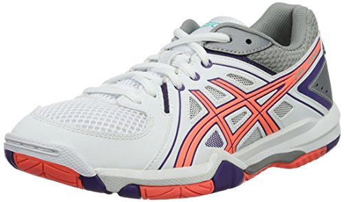 ASICS Damen Gel-Task W Volleyballschuhe, Weiß (White/Flash Coral/Parachute Purple), 40 EU