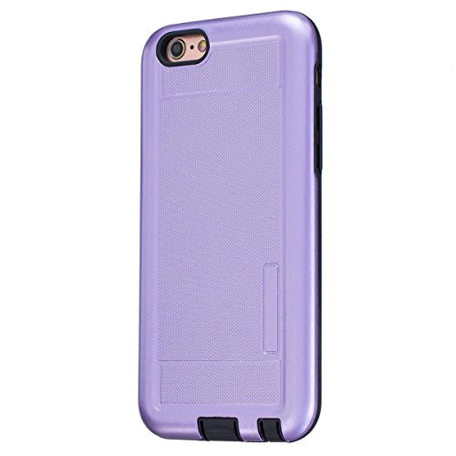 MOONCASE IPhone 6 / 6S Étui, Double Couche Hybride Soft TPU Intérieur + Anti-Dérapant Coque PC Robuste Anti-Scratch Antichoc Housse Etui de Protection Case pour iPhone 6 / 6S (4.7 inch) Argenté Violet