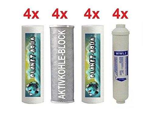 5 Stufen Osmoseanlage - 2 Jahres Filterkartusche Set - 16 STÜCK Patronen /Filter für Umkehrosemose Wasserfilter. Sediment Aktivkohle Block filter Linien kartusche Filteranlage Osmose Wasser Aquarium
