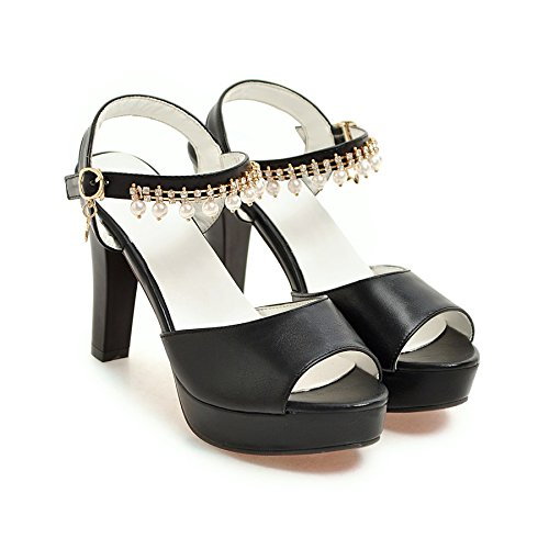 fan4zame Sandalen Damen Sommer mit dick High Heels Wasser Tisch Fische Mund Schuhe Cool bequem atmungsaktiv Sandalen 37 black high heels 9cm