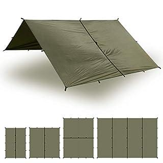 Aqua Quest Safari Tarp - 100% Waterproof Lightweight Sil-Nylon Bushcraft Camping Shelter - 3x3 Olive Drab