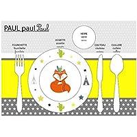 Conjunto de mesa educativa, conjunto de mesa infantil, tema de zorro, tonos amarillos y grises