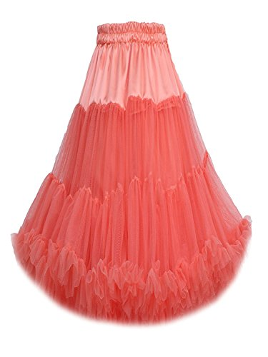 FOLOBE Frauen-Ballettröckchen-Kostüm-Ballett-Tanz mehrschichtiger geschwollener Rock-erwachsener luxuriöser weicher Petticoat 60cm / 23.6 (Schnelle Nette Kostüme)