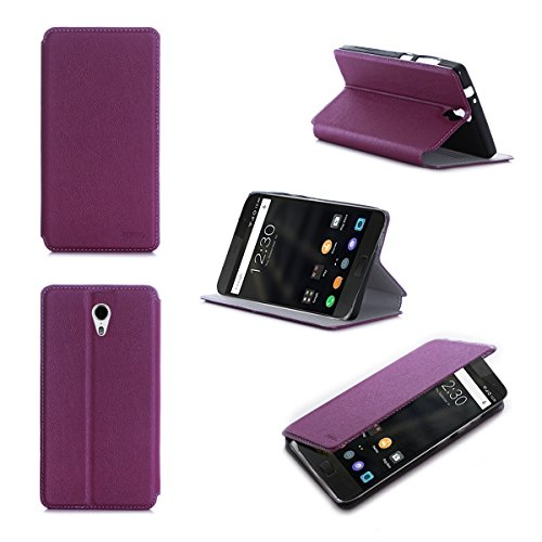 Lenovo ZUK Z1 2015 4G/LTE Dual Sim Tasche Leder Hülle Lila violett Cover mit Stand - Zubehör Etui Lenovo ZUK Z1 Flip Case Schutzhülle (PU Leder, Handytasche schwarz Purple) - XEPTIO accessories
