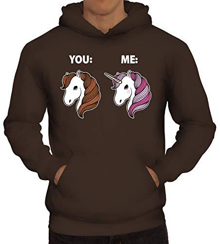 Einhorn Pferde Geschenk Herren Hoodie Männer Kapuzenpullover Unicorn - Difference Between You and Me, Größe: XL,braun