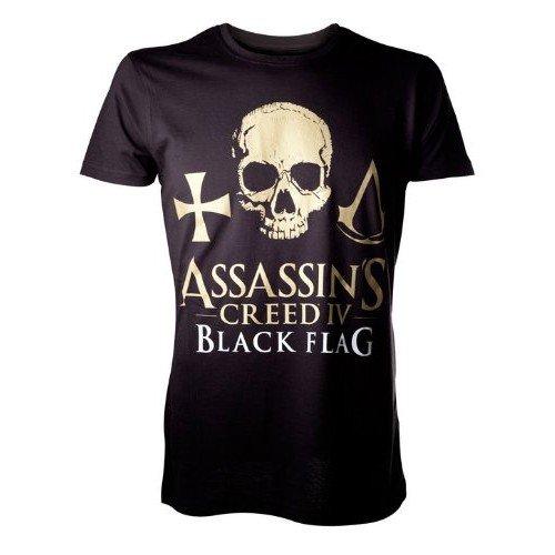AssassinŽs Creed IV Black Flag T-Shirt Golden Logo Skull Size L