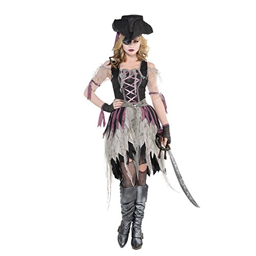 Erwachsene Damen Zombie Gejagter Piratenbraut Mädchen Halloween Kostüm mit Hut - UK Größe 14-16