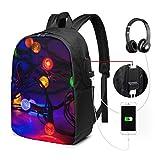 Reise-Laptop-Multifunktions-Reisetaschen, Canvas-Schulter-Daypack-Rucksack Mit USB-Ladeanschluss Und Kopfhörerloch Für Teenager Mädchen Jungen -Weihnachtsbeleuchtung