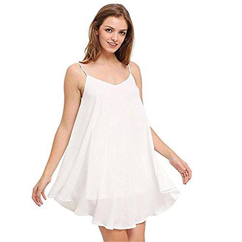 Mini abito corto,Kword donne senza maniche fionda indietro Cross solido Abito da spiaggia Bianco