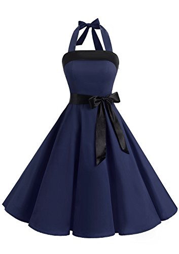Timormode 10212 Damen Vintage Kleid 1950 Neckholder Cocktailkleid Faltenrock Partykleid M Marineblau