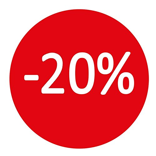 Takestop® rotolo da 400 etichette adesive 35mm -20% bollo rosso scritta bianca adesivo removibile sconti