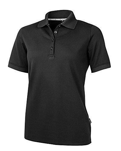 agon - Premium Damen Pique Polo-Shirt, bügelfrei, Coolmax, Coldblack, UV-Schutz, Geruchsblocker, atmungsaktiv, Kurzarm Anthrazit-Schwarz 42/XL -