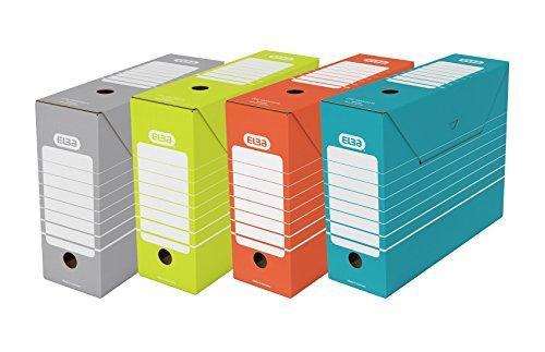 ELBA 400061156 Ablageschachtel tric 10 cm 10er Pack Archiv-Box für DIN A4 rot, grün, blau und grau Archivschachtel Archivbox einfacher Aufbau