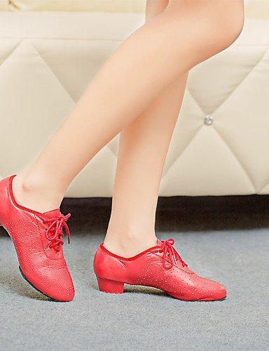 ShangYi Chaussures de danse (Noir/Rouge) - Non personnalisable - Talon bas - Cuir - Moderne