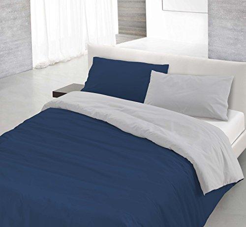 Italian Bed Linen 8058575000316 Parure Copri Piumino con Sacco e Federe in Tinta Unita Doubleface, Blu Scuro/Grigio Chiaro, 100% Cotone, Singolo, 150 x 200 x 1 cm