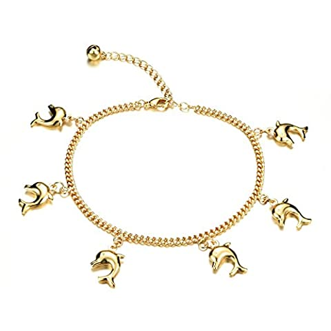 Fate Love Jewellery Knöchelkette / Fußkette, verstellbar, mit Delfin-Anhängern, mit 18K vergoldet, in Geschenkbox