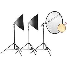 Walimex Pro Daylight 250 Portrait Basic Dauerlicht Studioset mit Reflektor und Lampenstativen