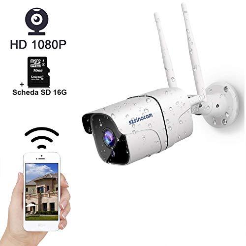Telecamera di Sorveglianza Esterno 1080P, SZSINOCAM Videocamera Sorveglianza Esterno WIFI, CCTV Camera Con Visione Notturna,Rilevazione Del Movimento,Audio Bidirezionale,Supporto TF Card da 128GB